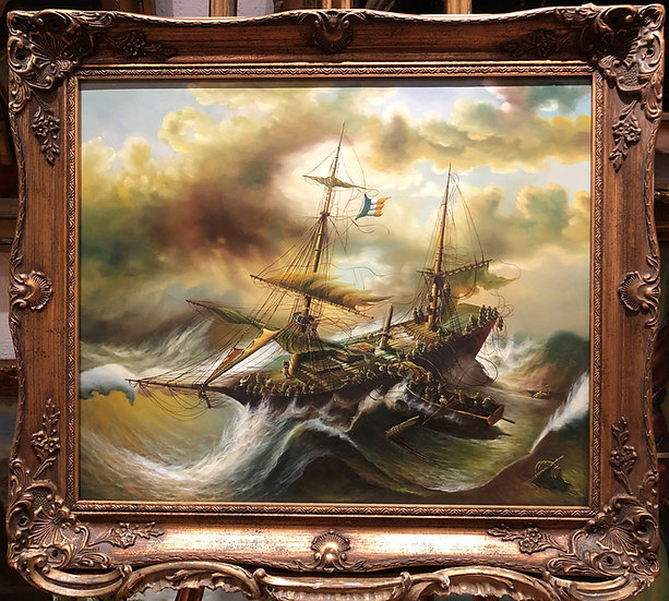 LARGE OIL PAINTING ( WONDERFUL FRAME ) MARITIME SHIP PIECE MASTER 20th CENTURY