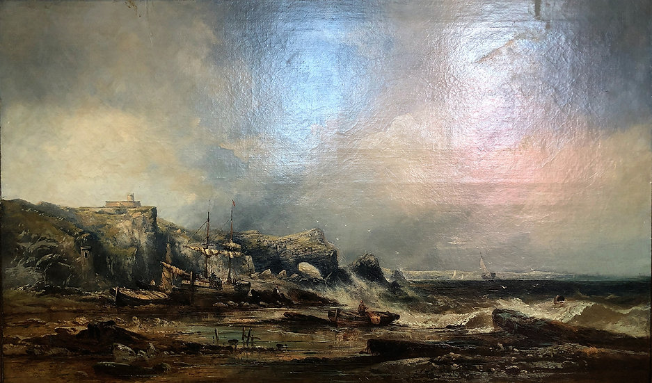 HUGE OIL PAINTING SIGNED OLD FINE MASTER PAINTER 19th Century BRITISH SCHOOL