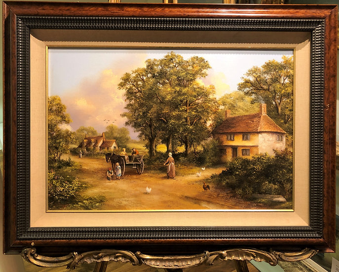 """OIL PAINTING IN BLACK & WALNUT FRAME """"Old master style"""" Beautiful Villag"""