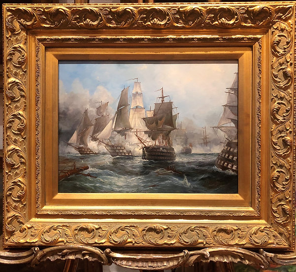 OIL PAINTING ( WONDERFUL FRAME ) MAN O WAR  OLD MASTER STYLE