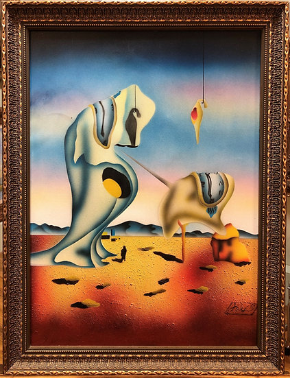 SALVADOR DAHI Signed LARGE CANVAS OIL PAINTING 20th CENTURY GOLD GILT FRAME