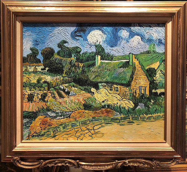 FINE LARGE OIL PAINTING COTTAGES at Osie BY VAN GOGH . GOLD FRAME