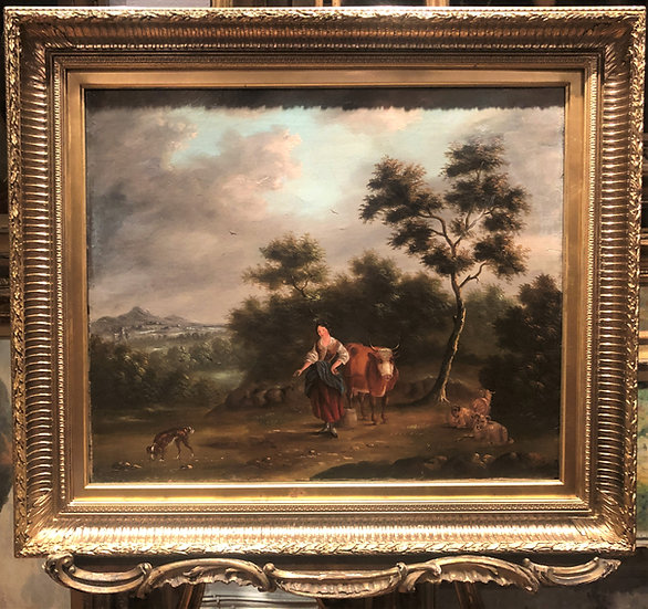 OIL PAINTING 18th Century SPANISH SCHOOL FINE MASTER PAINTER in GOLD GILT FRAME