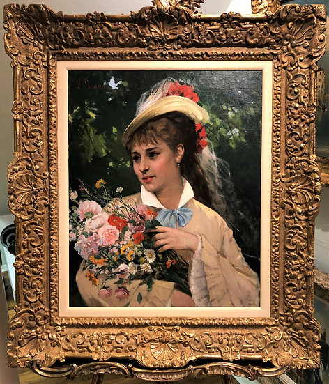 OIL PAINTING By  LEONARDO GASSER B1831 19th CENTURY PIECE GOLD FRAME