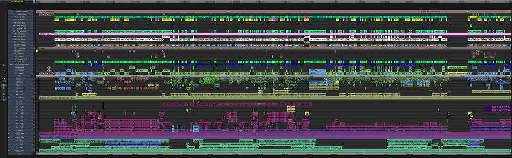 The timeline is where the magic happens during the editing of a feature film. It starts as a blank canvas and then eventually explodes into a frenzy of layers, colors, files and decisions. It is the literal spine of the film.