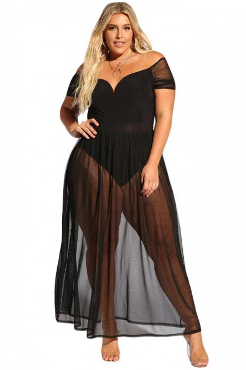 Black Sheer Allure Plus Size Bodysuit Dress