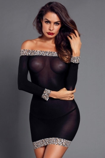 Black Sheer Mesh Leopard Trim Off Shoulder Chemise