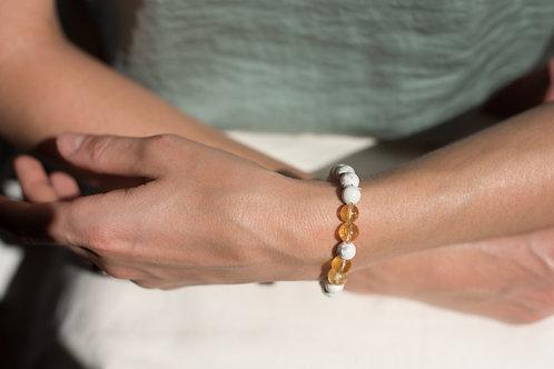 Howlite & Citrine Crystal Bracelet