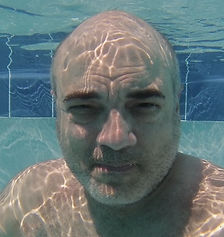 Underwater photo of Luis taken in the pool.
