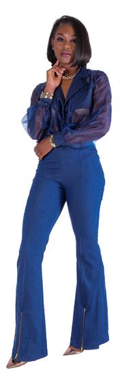 Flared Zipper Denim Pants, Danny Organza Top