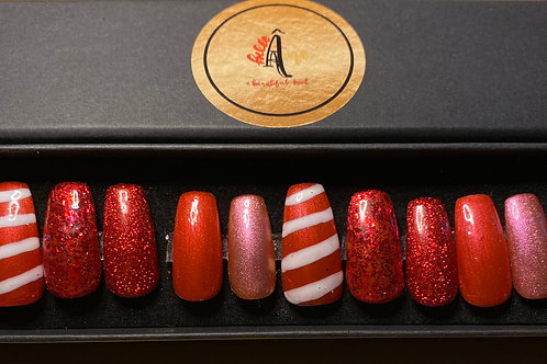 Christmas Candy Cane Press on Gel Nails