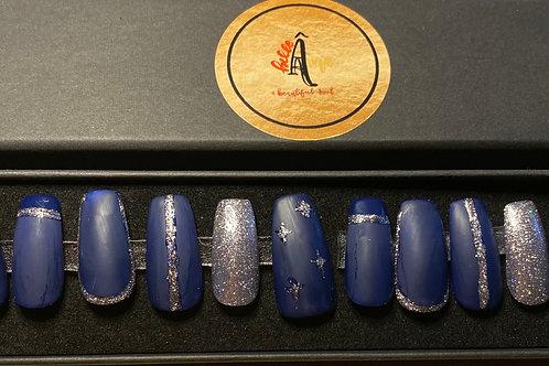 Midnight Sparkle Press on Gel Nails