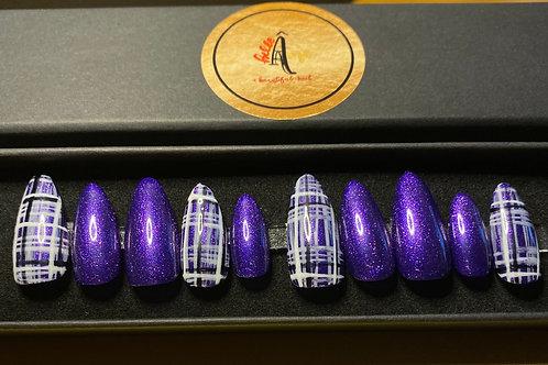 Purple Tartan Press on Gel Nails