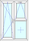tilt and turn door with window and fix