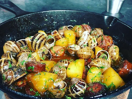 Peconic Escargot with Chorizo, Apples, and cider