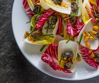 Endive and Radicchio Salad with Peconic Escargot and Toasted Hazelnuts