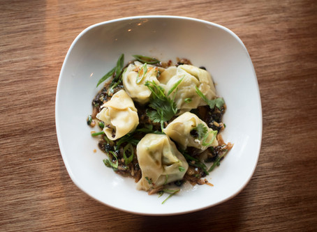 Peconic Escargot and Wild Shrimp Wontons, Fermented Black Bean Vinaigrette