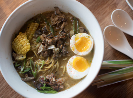 Abura-ramen, Peconic Escargot, Foie Shoyu Tare, Black Garlic, Samphire