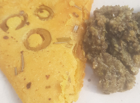 Breakfast: Chickpea flatbread with Tapenade