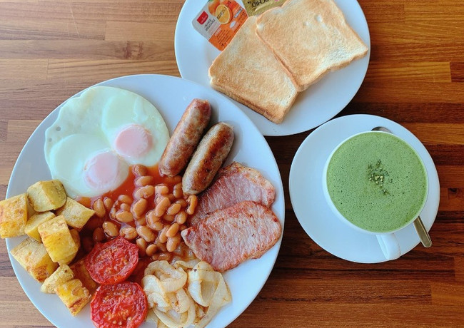 British Breakfast at Greenfield Terrace Restaurant, Greenfield Valley Fishing Resort, Hua Hin, Thailand
