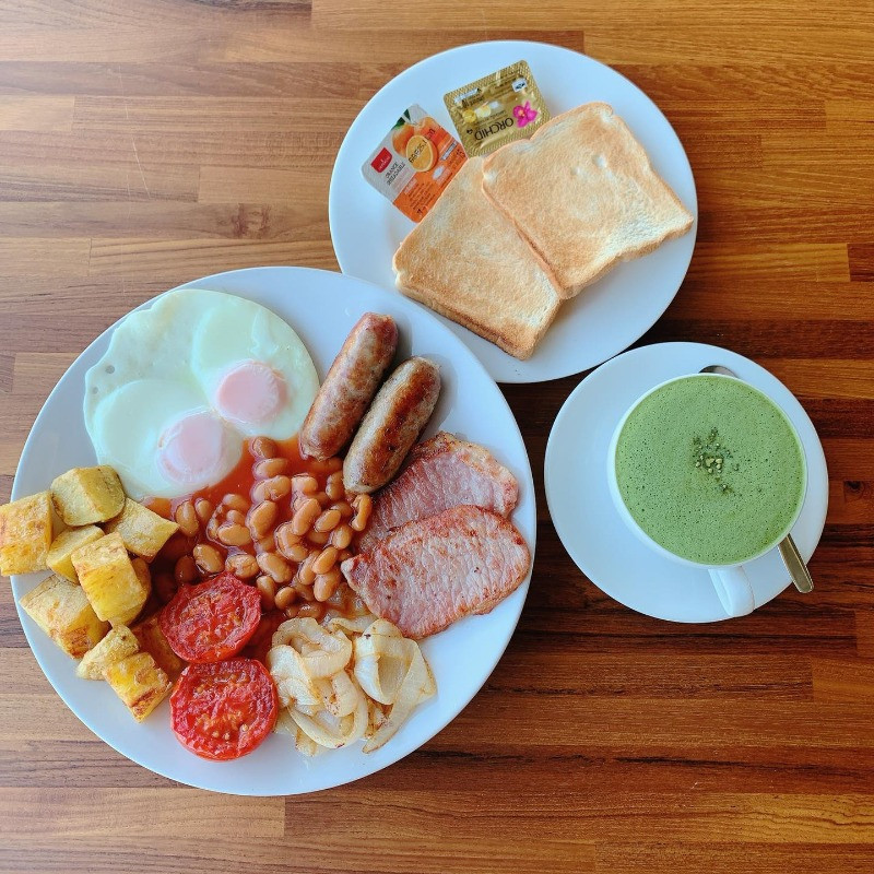 British Breakfast at Greenfield Terrace Restaurant, Greenfield Valley Fishing Resort, Hua Hin, Thailand