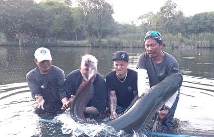 Arapaima fishing at Greenfield Valley Fishing Resort, Hua Hin, Thailand