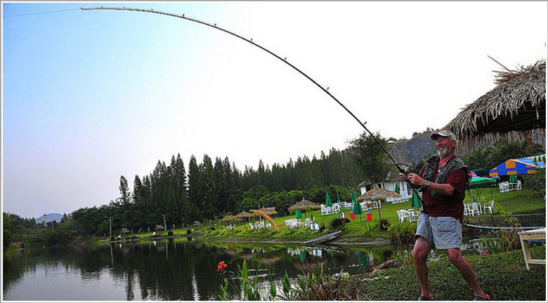 John Wilson fishing at Greenfield Valley Fishing Resort, Hua Hin