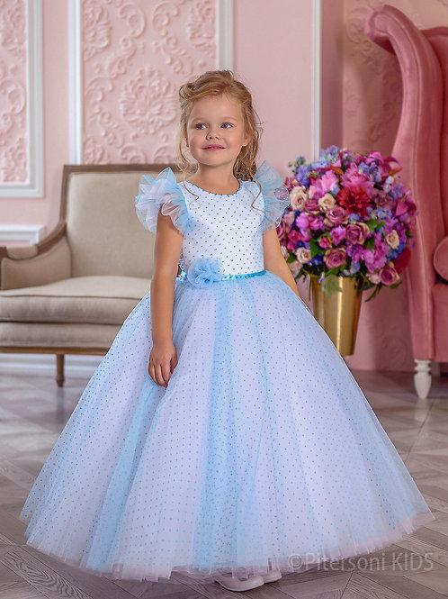 Платье для девочки нарядное нежно-голубое в чёрный горошек