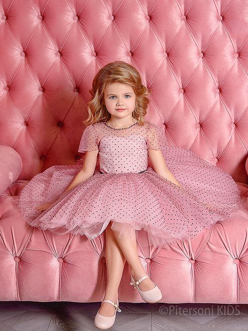Платье для девочки нарядное розовое в чёрный горошек