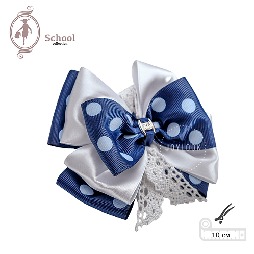 Бант для девочек Joylook HAIR School Waterfall на зажиме синий белый с кружевом