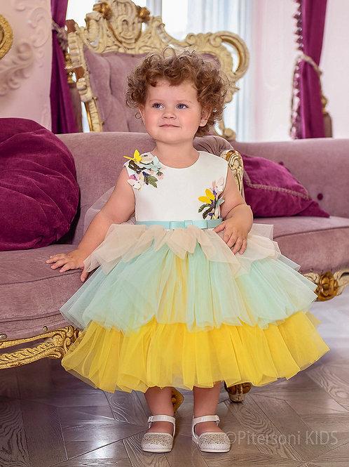 Платье для девочки нарядное лимонно-зелёного цвета