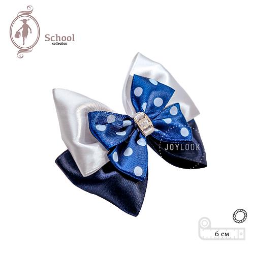 Бант для девочек Joylook HAIR School Polka  на резинке белый синий в горох