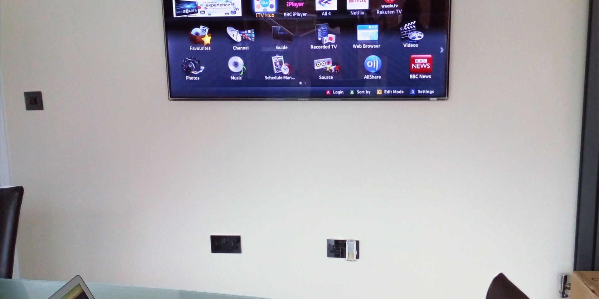 TV Wall Mounted in a study