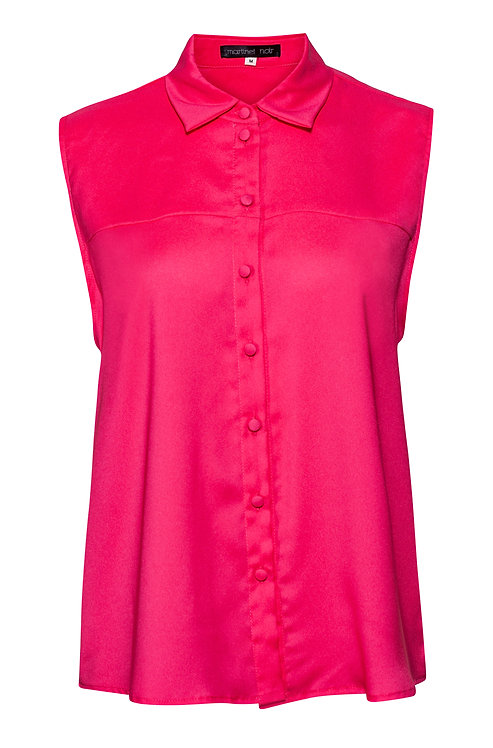 Pink Sleeveless Button Blouse