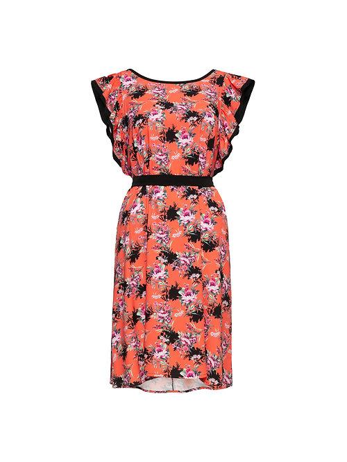 Coral Flower Vol Dress