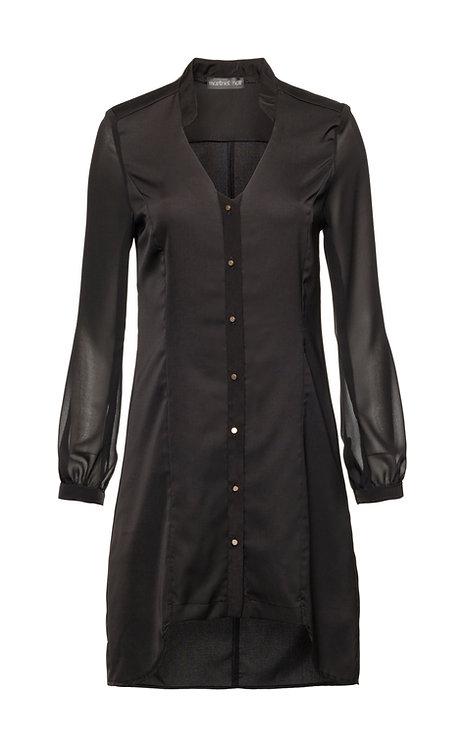 Black Button Mini Dress