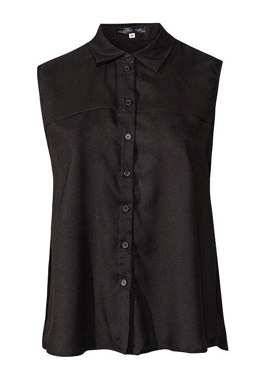Black Sleeveless Button Blouse