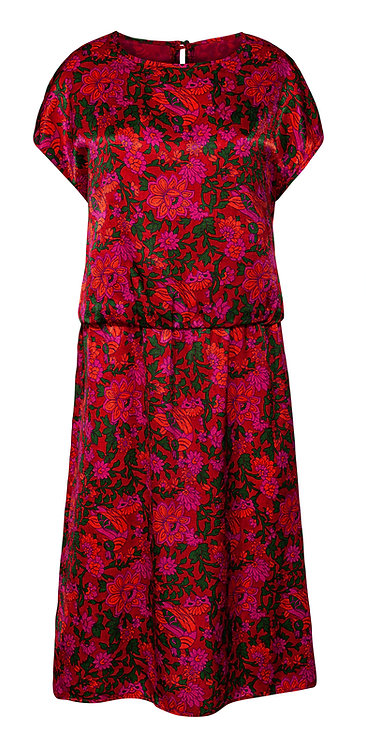 Flower Print 80's Dress