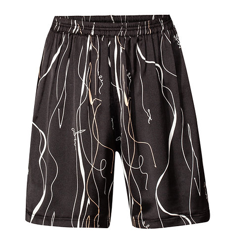 Black Print  Loose Shorts