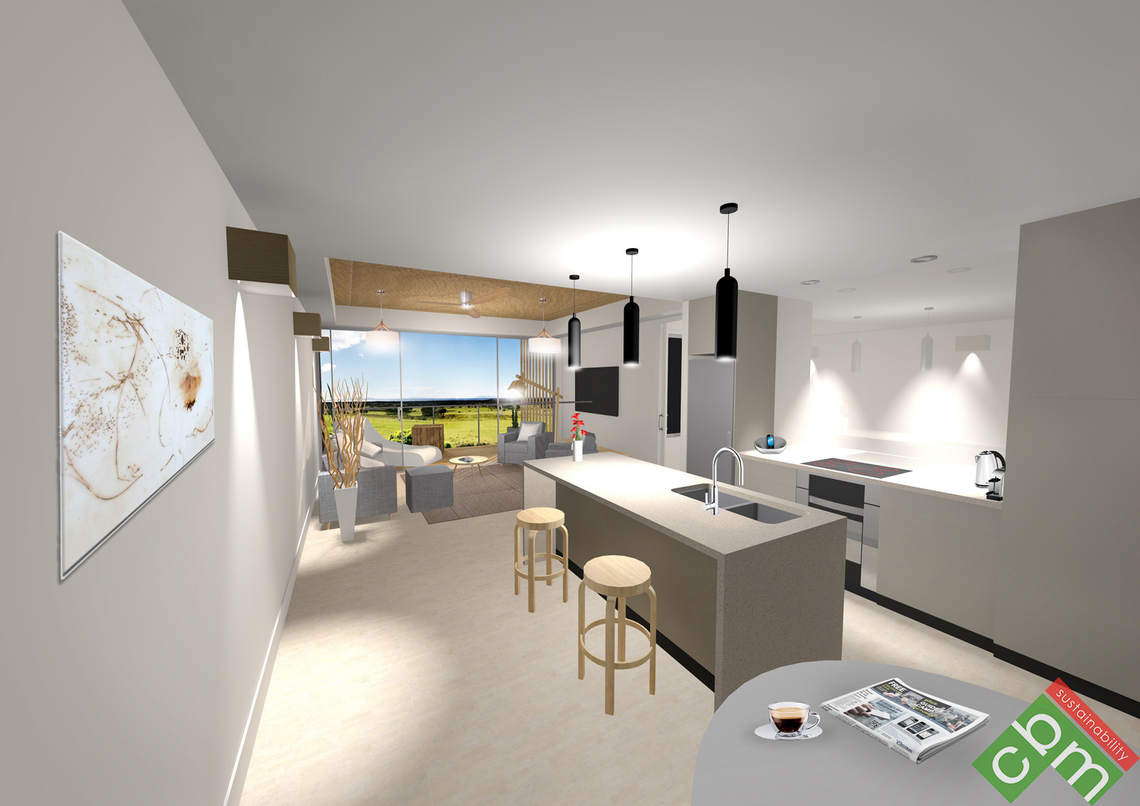 T1 Apartment Type 1 - Kitchen and Living 1.JPG