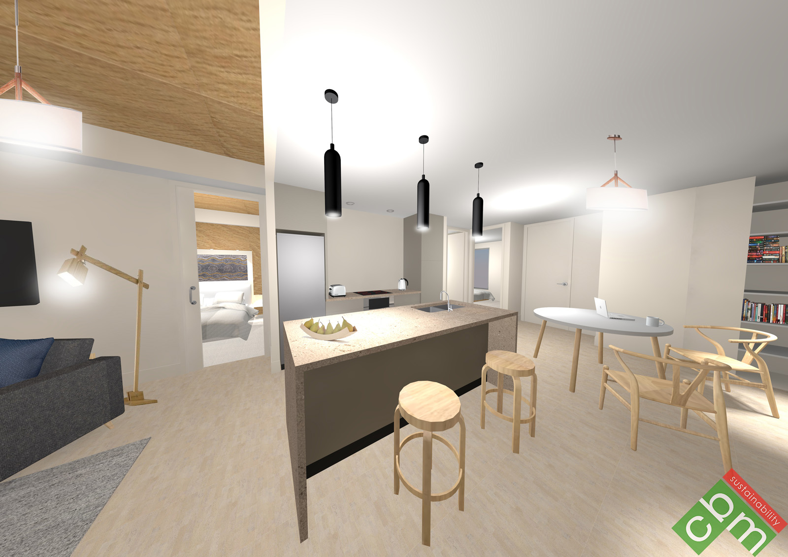 T2 Apartment Type 2 - Kitchen and Living 2.JPG