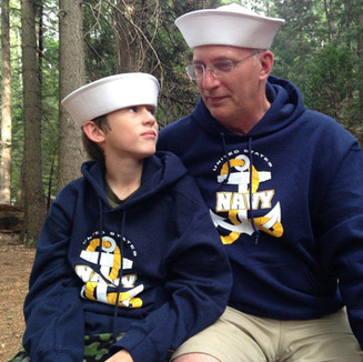 Brad Long with his son