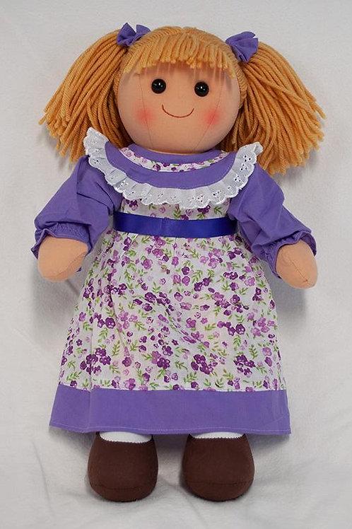 Rag Doll with Lavender Flowered Dress