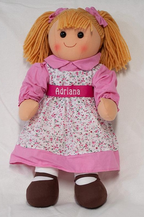 Rag Doll with Pink Flowered Dress