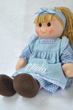 Rag Doll in Blue Polka Dot Dress