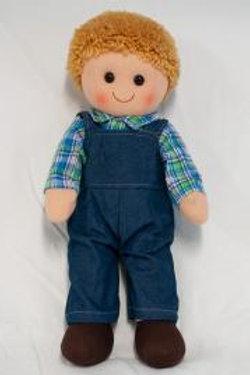 Boy Rag Doll in Denim Overalls