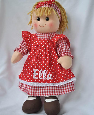Rag Doll in Red Polka Dot Dress