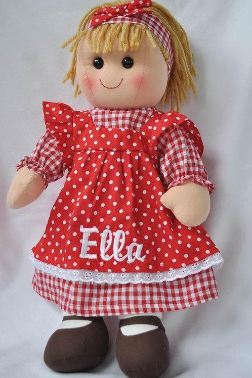 Rag Doll in Red Polka Dot Dress
