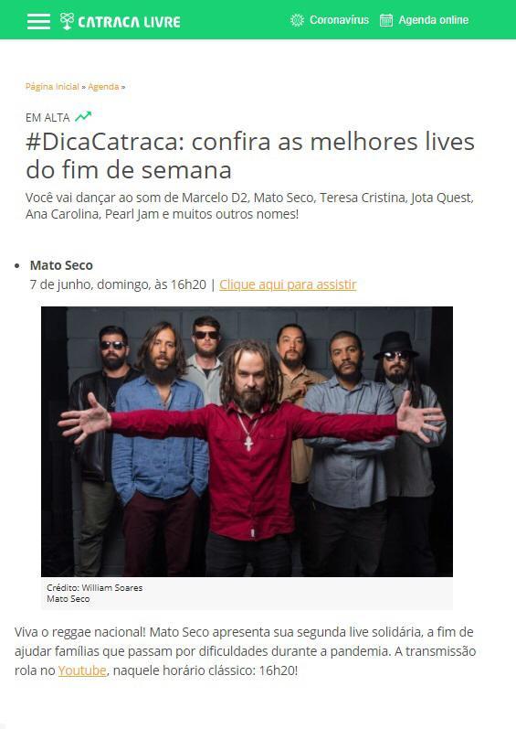 #DicaCatraca:confira as melhores lives do fim de semana