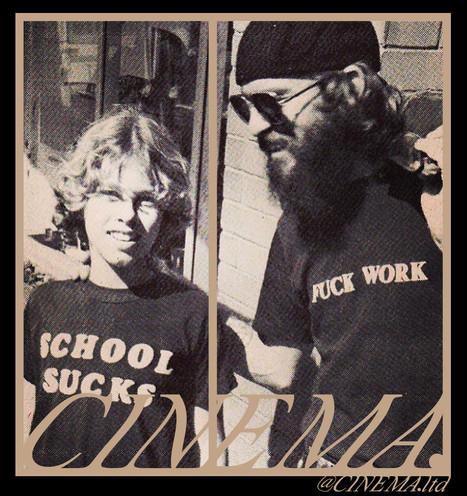 Cinema School Sucks, Fuck Work sticker.j
